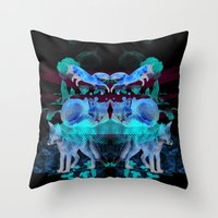 foxes Throw Pillows featuring Foxes by Edward Yeung