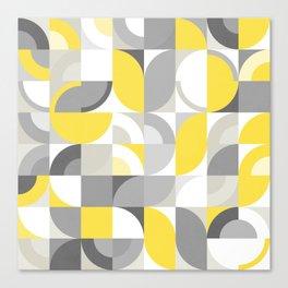 Sunny Bauhaus Geometry - Yellow & Grey Canvas Print