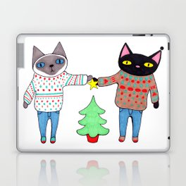 Cats in Sweaters Trimming the Christmas Tree Laptop & iPad Skin