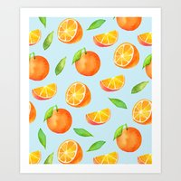 Watercolor Oranges Pattern 3 Art Print