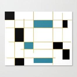 MidCentury Modern Art Aqua Gold Black Canvas Print