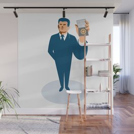 businessman secret agent showing id card badge wallet Wall Mural