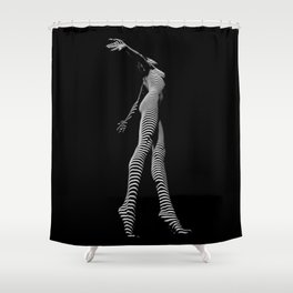 9825-DJA  Nude Woman Yoga Black White Abstract Curves Expressive Lines Slim Fit Girl Zebra Shower Curtain