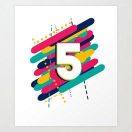 Kids 5th Birthday 5th Anniversary 5th Celebration Party Art Print