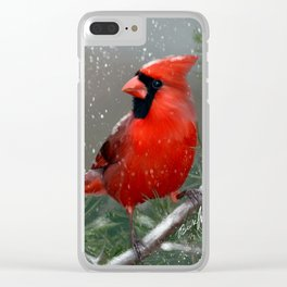 Winter Cardinal Clear iPhone Case