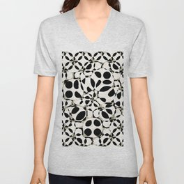 black and white circles in squares Unisex V-Neck