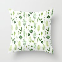leaves Throw Pillows featuring Leaves by Vicky Webb