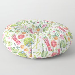 Spring Harvest Pattern White Floor Pillow