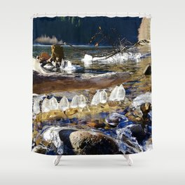 Natural ice sculptures of Squamish River Shower Curtain