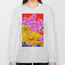 RAZZLE-DAZZLE FLORALS IN RED-TEAL COLOR Long Sleeve T-shirt