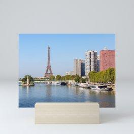 Front de Seine and Eiffel tower - Paris, France Mini Art Print