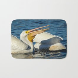American White Pelican Catching a Minnow Fish Bath Mat