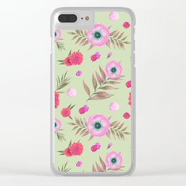 Modern pink lavender watercolor geometric floral Clear iPhone Case