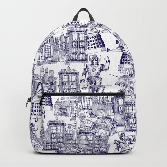 Doctor Who Toile de Jouy | 'Walking Doodle' | Blue Backpack
