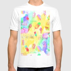 ALL YOU NEED IS ICECREAM - seamless summerpattern White Mens Fitted Tee MEDIUM