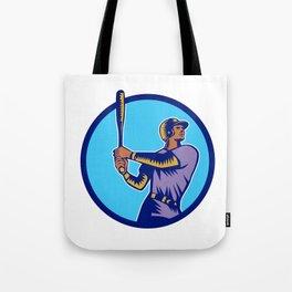 Baseball Batter Batting Bat Circle Woodcut Tote Bag
