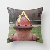 hat Throw Pillows featuring Hat by Caren Lewis