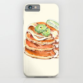 Buttermilk pancakes. Pastry, dessert. Watercolor hand-drawn sketch. Funny character with human face iPhone Case