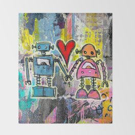 Graffiti Pop Robot Love Throw Blanket
