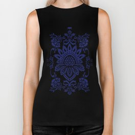 damask blue and white Biker Tank