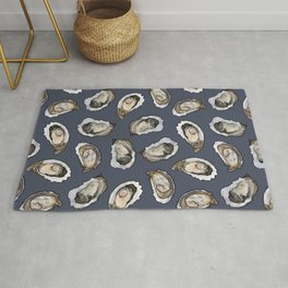 Oysters by the Dozen in Blue Rug