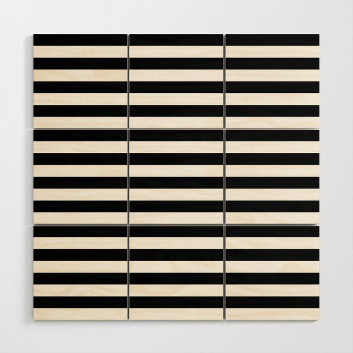 Black And White Horizontal Strips Wood Wall Art By Koovox