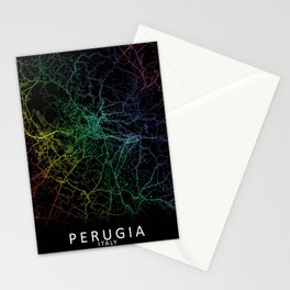 Perugia, Italy, City, Map, Rainbow, Map, Art, Print Stationery Cards
