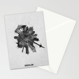 Berlin, Germany (Deutschland) Black and White Skyround / Skyline Watercolor Painting Stationery Cards