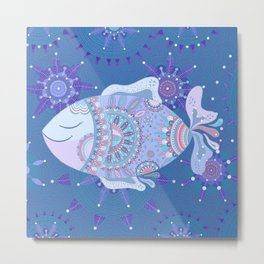 Purple Blue Touchy Fish Metal Print