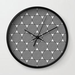 Hypnotic Black and White Circle Pattern - Digital Illustration - Graphic Design Wall Clock