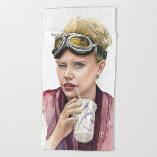 Jillian Holtzmann Portrait | Ghostbusters Art Painting Beach Towel