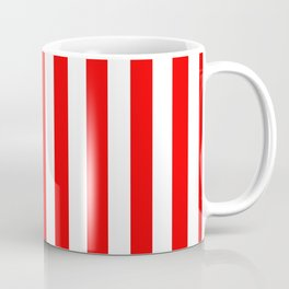 Large Berry Red and White Rustic Vertical Beach Stripes Coffee Mug