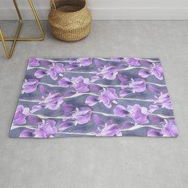 Simple Iris Pattern in Pastel Purple Rug