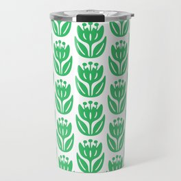 Mid Century Modern Flower Pattern Green 331 Travel Mug