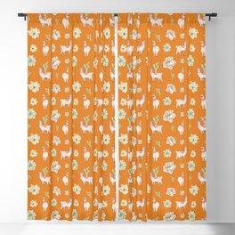 Llamas, Cacti and Amaryllis Desert Theme (orange palette) Blackout Curtain