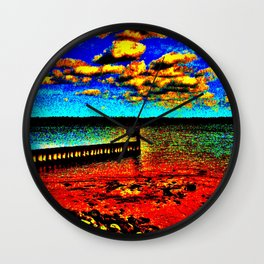 Colorful Sunset on Beachfront Wall Clock