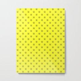 Black on Electric Yellow Snowflakes Metal Print