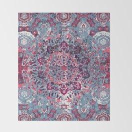 Vintage Boho Burgundy Mandala Throw Blanket