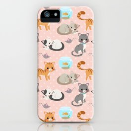 Cute Cat and Fish Pattern – Light Pink Polka Dots iPhone Case
