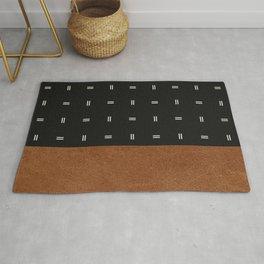 Scandinavian Modern Leather Minimal Pattern Black Rug