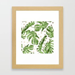 Simply Tropical White Gold Sands Dots and Palm Leaves Framed Art Print