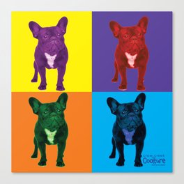 Four French Bulldogs by Crow Creek Coolture Canvas Print