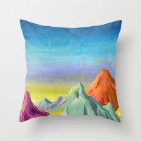 mountains Throw Pillows featuring mountains  by Robert Deutsch