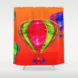 Balloons in front of evening sky ... Shower Curtain