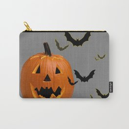 HALLOWEEN FLYING  BLACK BATS & CARVED PUMPKIN FACE Carry-All Pouch