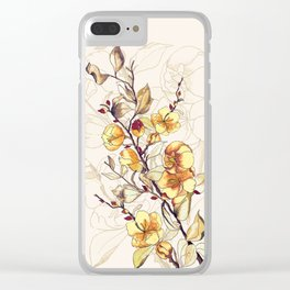 Dried branch with flowers Clear iPhone Case