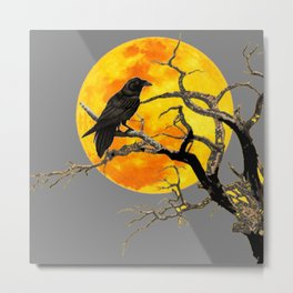 FULL MOON & RAVEN ON DEAD TREE Metal Print