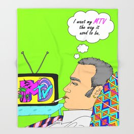 I Want my MTV the way it used to be, 90's Ewan McGregor Illustration Throw Blanket