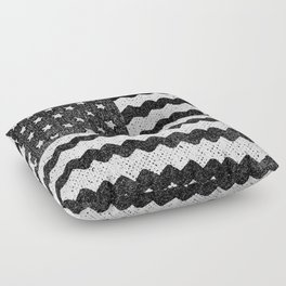 Black Zig Zag Flag Floor Pillow