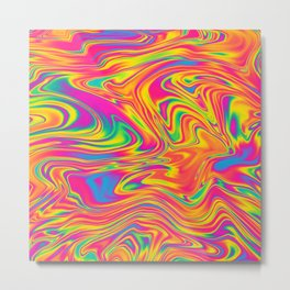Rainbow Vibrant Swirl Metal Print